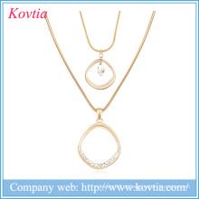Duas correntes de cobra ouro saudi cheio colares longos feitos à mão colar de cristal jóias