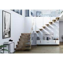 Escalera de madera con barandilla de escalera de vidrio templado