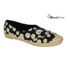 Frauen-Espadrille-Drucken-Segeltuch-flache beiläufige Schuhe
