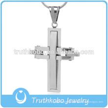 Personnalisé religieux Brésil hommes christ bijoux top en acier inoxydable brillant polissage christianisme prière rainuré couche croix pendentif