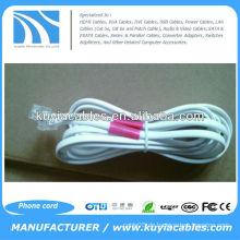 NEU Weiß 25 Ft Telefon 4P2C - 2 Draht Flachleitung Telefonkabel