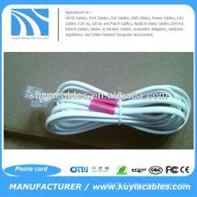 NOUVEAU White 25 Ft Phone 4P2C - Câble téléphonique plat à 2 fils