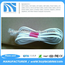 NOVO Branco 25 Ft Telefone 4P2C - 2 fios Flat Line Phone Cable