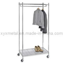 Muti-Functional Movable Supreme Commercial Chromed Clothing Garment Rack