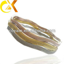 sand-blast stainless steel bangle 3pcs for set with gold and rose gold plating
