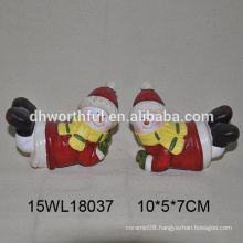Lastest design ceramic christmas ornaments with lying snowman