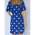 Frauen Blue Polka Dot Kleid