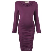 Kate Kasin Comfortable Long Sleeve Cotton Hips-Wrapped Bodycon Pencil Dress Pregnant Woman Dress Maternity Dress KK000615-1
