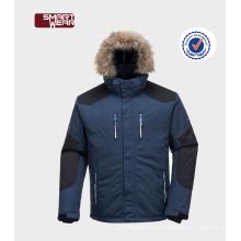Новая мода ветрозащитный открытый ткань снег катание на лыжах куртки с меховым капюшоном