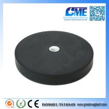 Flat Female Thread Rubber Coated Pot Magnets Neodymium