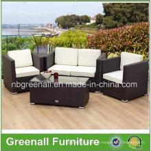 Sofá de mimbre de ratán de PE Mobiliario de jardín al aire libre