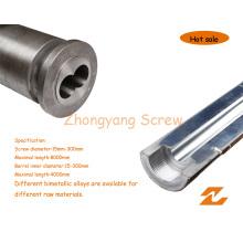 Tornillo bimetálico plástico Machibe y barril / carburo de tungsteno (65/132)