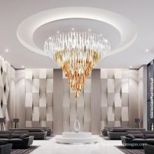 Grande lampe de plafond LED en cristal d'or pour salle de banquet