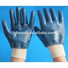 Azul nitrile revestido de algodão tecido interlock lined óleo resistente luvas de trabalho