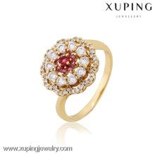 12824 Xuping bijoux de mode plaqué or fleur en forme de bagues de mariage