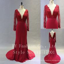 Schöne lange Chiffon Applique Designed Qualität Brautjungfer dressm Brautkleid