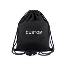 reusable eco friendly black canvas storage bag reusable printed logo cotton drawstring bag for sale