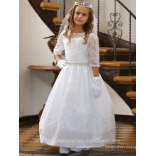 Children Wedding 2-12 Years Old girls Birthday Medium Sleeve Lace Ball Gown Flower Girl Dresses Pattern Kids Party Wear LF13