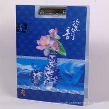 Carpeta lenticular del animal doméstico 3D chino azul 3D 2015
