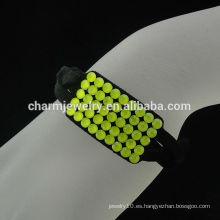 Francia terciopelo magnético broche de pulsera de cristal amarillo BCR-012-2