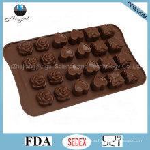 24-cavidad rosa, amor y caja de regalo herramienta de silicona Cake Si25