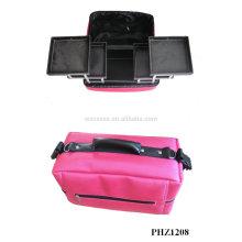 ventas calientes y bolso de maquillaje impermeable con 4 bandejas extraíbles interior fabricante