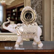2016 weinlese Hauptdekorharz elehpant Uhrstatue, Luxuxelefant mit Uhrfigürchen