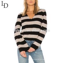 Nuevo estilo de moda suelta las mujeres de gran tamaño cashmere v cuello a rayas suéter