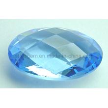 Semi-Precious Aquamarine Oval Checker Stones