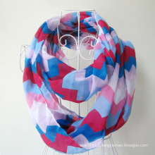 Woman Fashion Wave Printed Polyester Chiffon Infinity Scarf (YKY1099-3)
