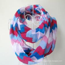 Женщина мода волна печатных полиэстер шифон бесконечность шарф (YKY1099-3)