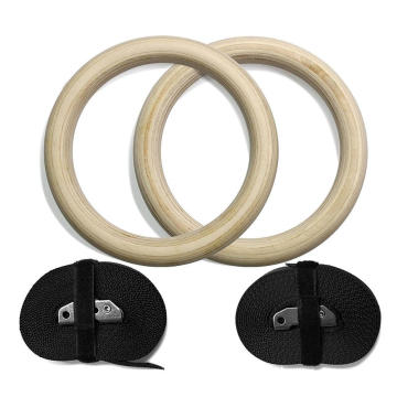 Exercise Rings Non-slip Training Rings Wood Gym Rings With Adjustable Strap