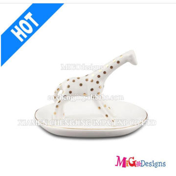 Décoration de Noël New Arrival Ceramic Giraffe Ring Holder for Gifts