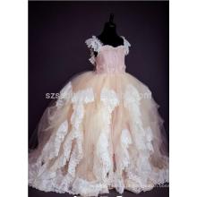 2017 tiras de espaguete de renda vestido de bola de tul vestido de menina com fotos reais