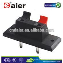 Daier WP2-2 2 broches rouge et noir clip de borne de borne à ressort de clip; Connecteurs