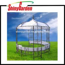 Gazebo de jardín de metal redondo con forma de marco de acero al aire libre