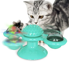 Shop pet new products luminous rotating cat rubs hair cat brush turntable windmill funny cat toy