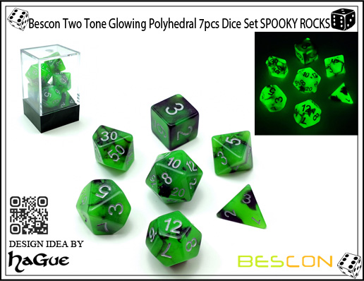Bescon Two Tone Glowing Polyhedral 7pcs Dice Set SPOOKY ROCKS-1