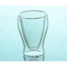 New Product Mouth Blown Borosilicate Double Wall Glass Coffee Cup