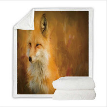 Super Soft Flannel Feelce Cover Blanket Bedding Set for Adult with 3D Digital Printing Fox