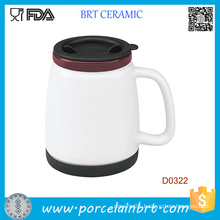 White Double Wall Ceramic Trave Mug with Silicone Lid