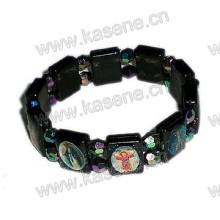 Plastic Black Rosary Bracelet with Saint Image, Fashion Bracelet