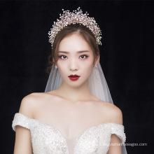Handgemachte Luxus Kristall beliebte Prinzessin Hochzeit Haarschmuck Kronen Braut Diademe und Schleier