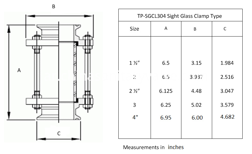 Sanitary stainless steel tri-clamp sight glass drawing