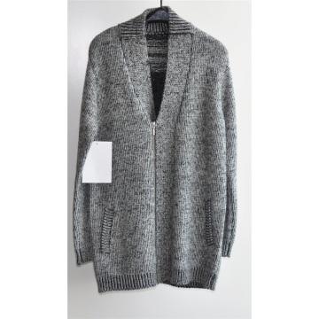 Invierno cuello en V de punto chaqueta larga con cremallera para los hombres
