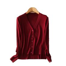 Cashmere women sweater cardigan with slit Irregular bottom v-neck long sleeve