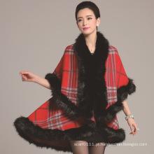 Senhora moda verificado padrão de acrílico de malha xale de inverno de pele (yky4460)