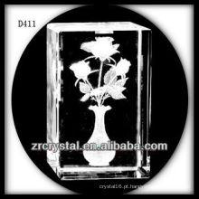 K9 3D Laser Rose Flor Dentro Retângulo De Cristal