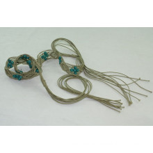 Fashion waxed cord with wooden beads knitted belts-KL0044