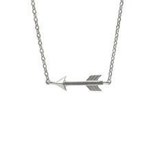 Colar de flecha polida alta em prata de lei 925